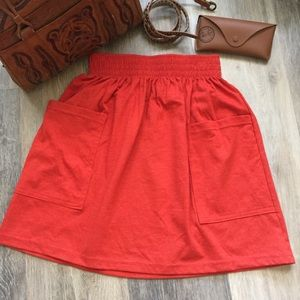American Apparel Elastic Waist Pocket Cotton Skirt