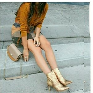 Zara gold ankle boots