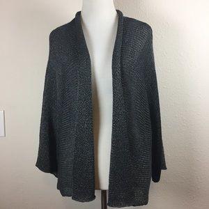 Eileen Fisher pewter silver gray cardigan medium