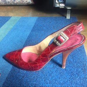 Kate Spade Red Snakeskin Slingback Heels Sz 7