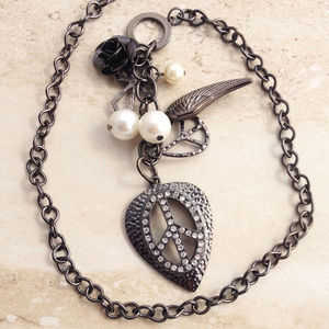 Goth Chic Blackened Station Necklace