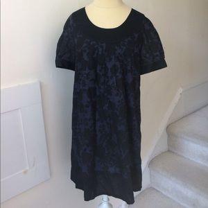 Kensie Floral Print Shift Dress Navy Blue Black