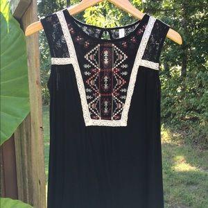 Boho Embroidered Black Dress
