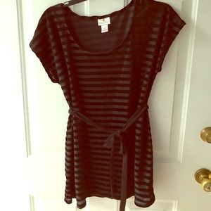Black striped maternity tunic medium
