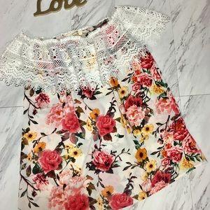 Floral off shoulder top, women's tops, shirts