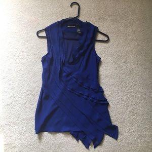 DKNY Blue Sheer Sleeveless Ruffle Top