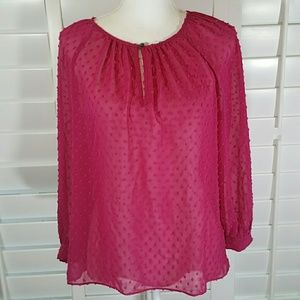 J.Crew Polka dot sheer silk blouse