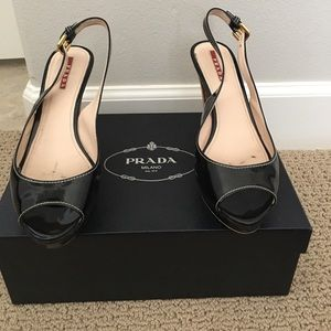 Gorgeous Black Patent Sling Backs by Prada