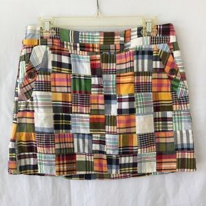 J.Crew Patch Madras Mini Skirt