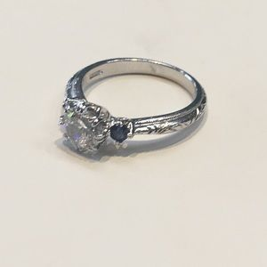 Tacori sapphire Cz Sterling silver 3 stone ring