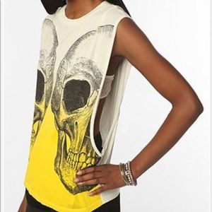 UO TMD Yellow Ombre Double Skull Muscle Tank Top