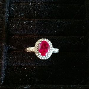 Ruby Sterling Silver with diamond accents size 7
