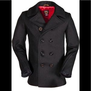Classic Wool Naval Pea Coat (Slim Fit).