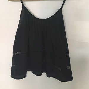 Black silk Wilfred tank with crochet trim