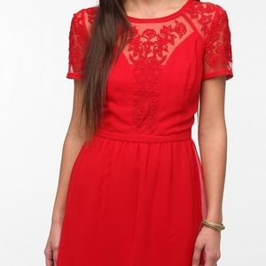 Kimchi Blue Red Lace Dress. Button Back