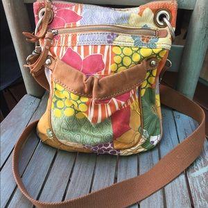 Women's Fossil Canvas & Leather Crossbody Bag EUC