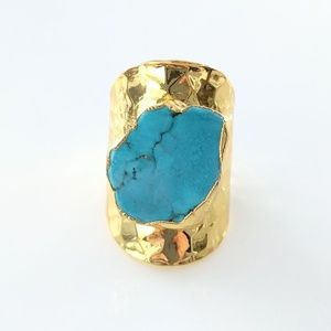 Gold-plated turquoise howlite statement ring