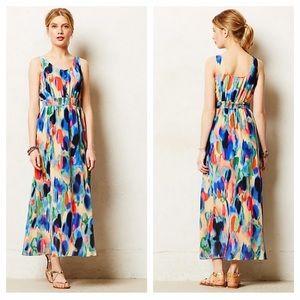 Anthro | Maeve Watercolor Aloisia Silk Maxi Dress