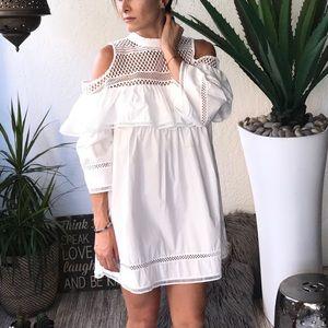 Dresses   Skirts - White tunic dress with beautiful lace detail cc1e45f175