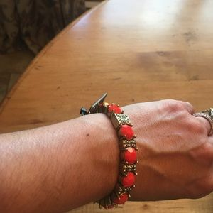 Coral and gold jcrew bracelet NWT