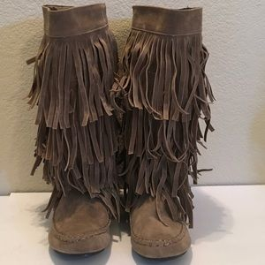 GLAZE Suede Booties FRINGES cushioned mid calf FUN