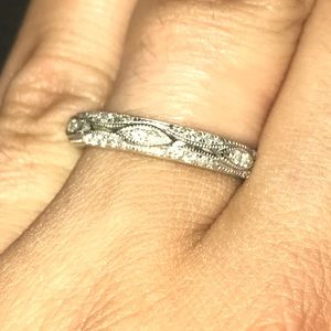 Diamond Encrusted Wedding Band - White Gold
