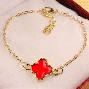 VCA Red Enamel Four Leaf Clover Bracelet