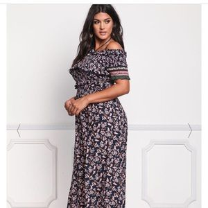 Floral plus size navy blue maxi dress