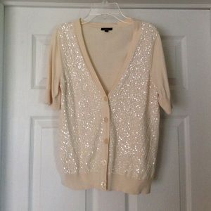 Talbots cream sparkly sweater size S