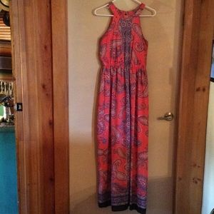 Takara m blue coral paisley maxi dress