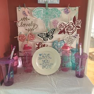 Handmade crafts, decals, cups and plates