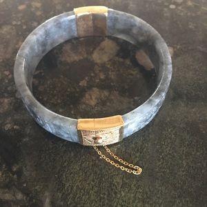 Rare vintage jade carved bracelet w/14kt clasps