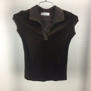 Juicy Couture Brown Velour Top Vintage Small Med