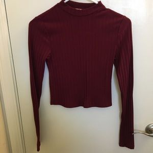 Express burgundy crop top Sz XS