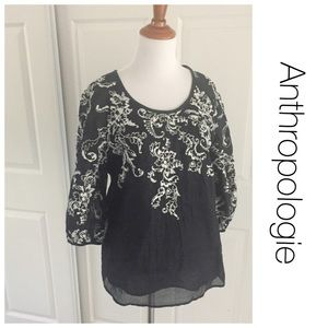 Anthropologie Navy Embroidered Peasant Blouse 6