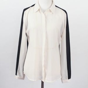 Olive & Oak sheer white and black blouse button