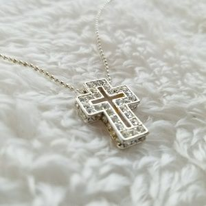 Rhinestone Crusted Cross Necklace