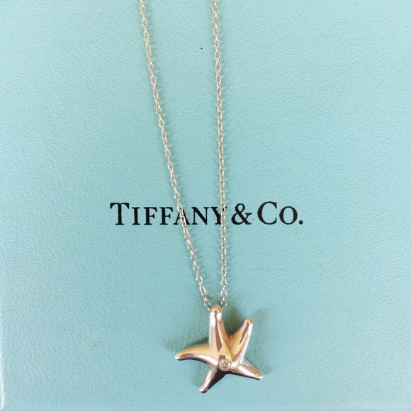 f16d01767 Auth Tiffany & Co. Starfish with Diamond Necklace.  M_59c95093fbf6f9890807d44a