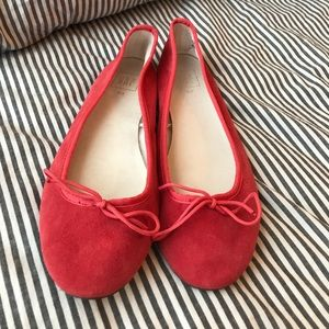 Gap red leather suede ballet flats 8.5