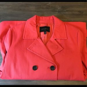 Banana republic coral red trench swing coat