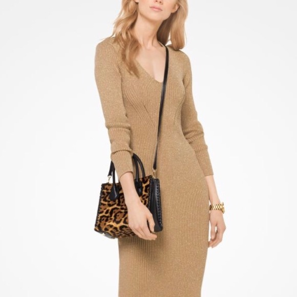 7b8141b6ac0 MICHAEL KORS Metallic Ribbed Sweater Dress