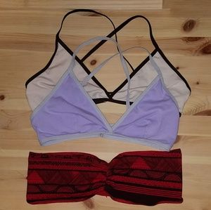 Set of 3 size large American Apparel bralettes