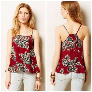 Anthropologie Maeve Zaballa Tank Floral Red 6P A1