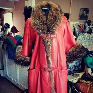 Vintage Cherry Red Leather & Beaver Fur Trimmed