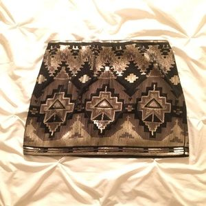 Express Geometric Sequin Miniskirt
