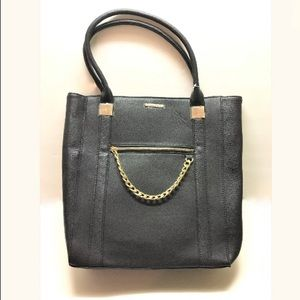 Rampage Chain Zipper Pebble Tote - Black- New