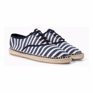 Zara navy striped espadrille lace up shoes