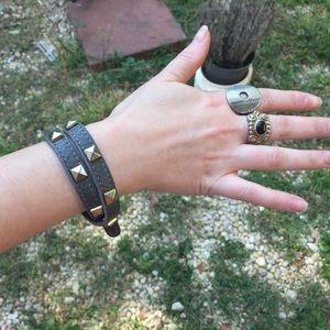 Jewelry - Spiked leather double wrap bracelet