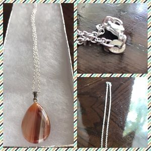 Jewelry - Natural Stone Tear Drop Pendant Necklace