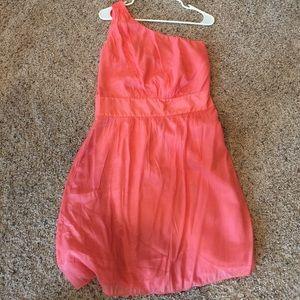 One shoulder coral dress